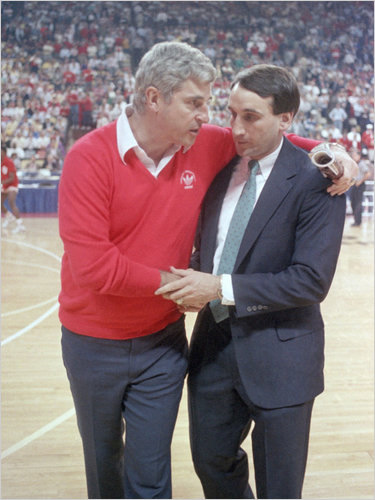 Coach krzyzewski and Coach Bobby Knight